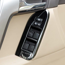 LHD 2010-2019 Stainless Car Window Switch Cover Panels Trims For Toyota Land Cruiser Prado 150 Accessories