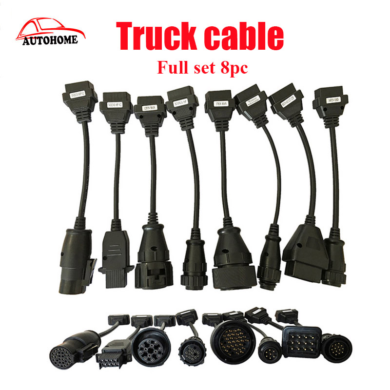 10pcs/lot Full Set tcs cdp Truck Cables for TCS cdp pro plus SCANNER truck cable Diagnostic tool connect cable