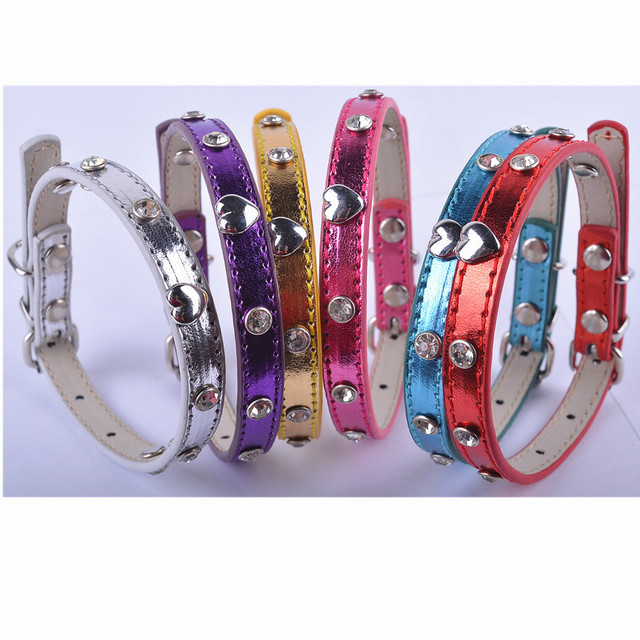 Fashion  Metallic Pu Leather Dog Collar Personalized Heart Shaped Studded Rhinestones Pet Accessories 6 Colors Mixed