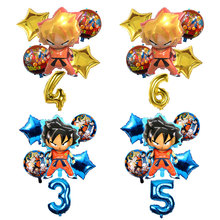 6pcs/set Cartoon Dragon Ball Goku Foil Balloons 32 Inch Number Balloon Set Happy Birthday Party Decoration Kids Toy Campus Party