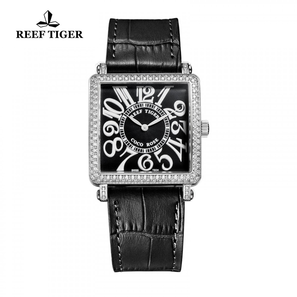 2017 New Design Reef Tiger/RT Watches Fashion Square Stainless Steel Watch Women Diamonds Arabic Numeral Quartz Watch RGA173 yn e3 rt ttl radio trigger speedlite transmitter as st e3 rt for canon 600ex rt new arrival