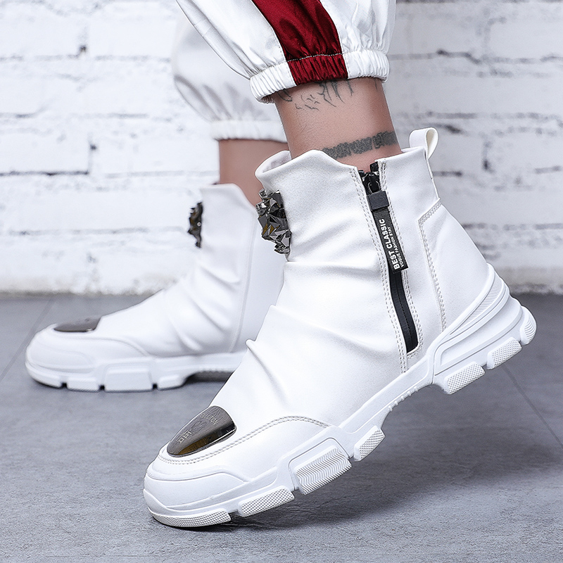 Men's Boots Metal Toe Leather Spring High Top Shoes Motorcycle Mens Ankle Boot Couple Oxfords Shoes