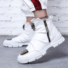 Men's Boots Metal Toe Leather Spring High Top Shoes Motorcycle Mens Ank