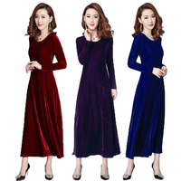 048dac2f32 Free Shipping 2018 New Fashion Plus Size S 3XL Stretch Velour Dresses Women  Long Maxi Spring