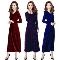 048dac2f32 Free Shipping 2018 New Fashion Plus Size S 3XL Stretch Velour Dresses Women  Long Maxi Spring
