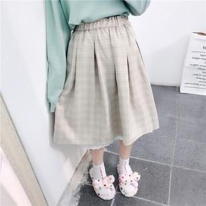 Image 2 - 2020 Japanese Soft Girl kawaii Skirts Women Summer Lolita High Waist Vintage Skirt Cute Plaid Lace A Line Tutu Midi Skirt