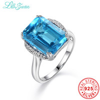 L Zuan 925 Sterling Silver Natural 8 78ct Topaz Blue Stone Prong Setting Ring Jewelry For