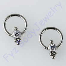 G23 Titanium Crystal CZ Nose Ring Ear Tragus Cartilalges Stud 16g CBR Captive Ring Piercing Body Jewelry