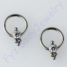 Кольцо G23 из титанового хрусталя с фианитом для носа и уха, хрящевая щетина, гвоздик 16g CBR, стягивающее кольцо, пирсинг, ювелирные изделия для тела