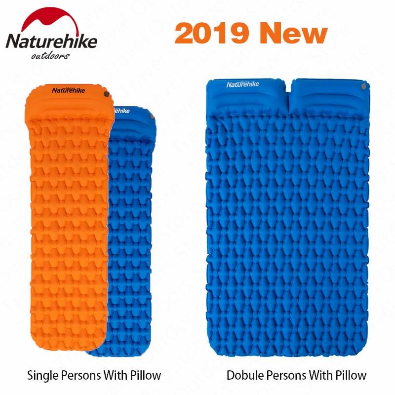 Naturehike 2019 New Outdoor Camping Inflatable Mattress Moisture-Pad Utralight Air Mat With Pillow Sleeping Pad Portable Mat
