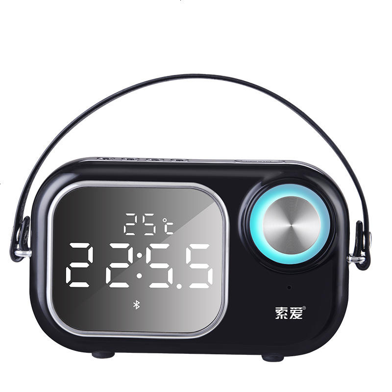 Bluetooth 4.2 Portable Wireless Bluetooth Speaker Column Subwoofer Music Sound Box LED Time Snooze Alarm Clock For Laptop Phone