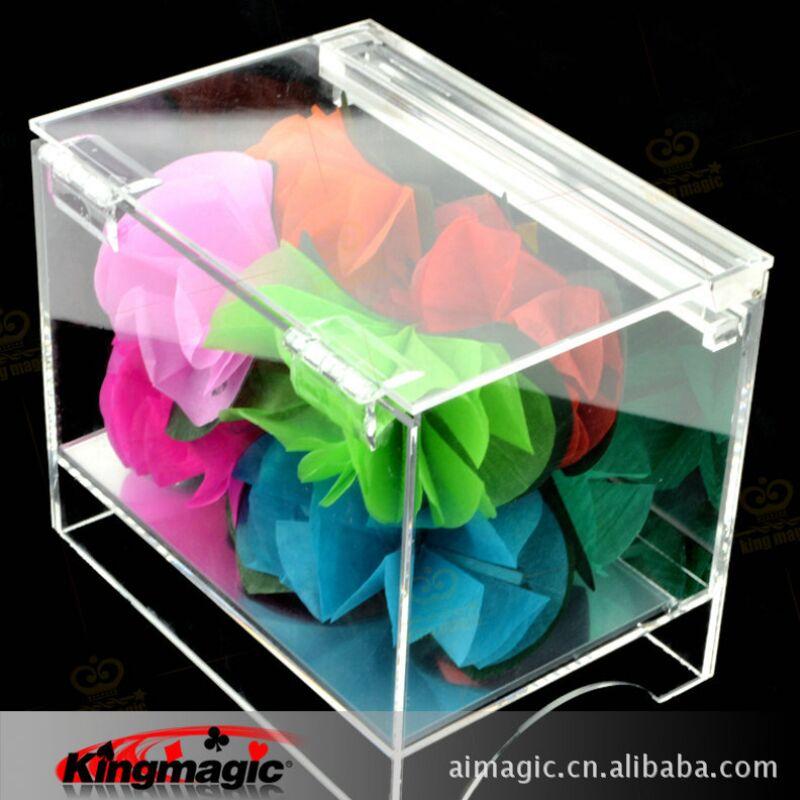 Livraison gratuite boîte de cristal apparaissant fleur scène fleur accessoires magiques tours de magie jouets drôles - 2