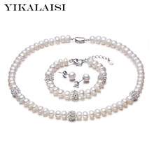 YIKALAISI 925 Sterling Silver Natural Freshwater Pearl Necklace Earrings Bracelet Fashion Sets Jewelry For Women 8-9mm Pearl(China)
