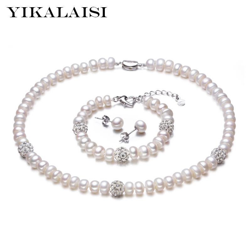 YIKALAISI 925 Sterling Silver Natural Mutiara Air Tawar Kalung Anting Gelang Fashion Set Perhiasan Untuk Wanita 8-9mm Mutiara