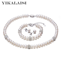 YIKALAISI 925 Sterling Silver Natural Freshwater Pearl Necklace Earrings Bracelet Fashion Sets Jewelry For Women 8 9mm Pearl