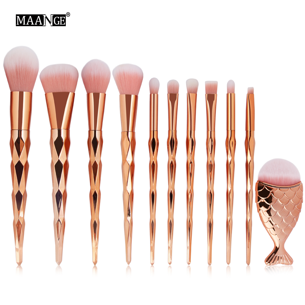 11Pcs Makeup Brush Foundation Brush Set Powder Blush Eyeshadow Concealer Blending Mermaid Fish Cosmetic Brush Beauty Tool Kits 20 sets makeup brush set foundation liquid powder eyeshadow eyeliner lip concealer blending brush beauty fish cosmetics tools