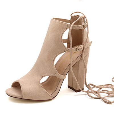 GOXPACER 2018 Summer Women Sandals Gladiator Thick Heel Buckle Open Toe Fashion Shoes High Heels Flock Lacing New Free Shipping free shipping 2016 women s summer shoes thick heel open toe boots high heels beaded lace cool boots gauze cutout sandals