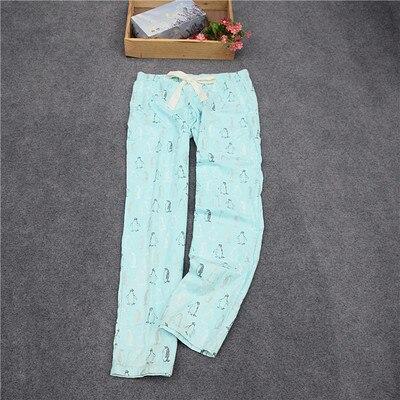 Женские брюки; длинные брюки; тканые хлопковые брюки для сна; женские брюки - Цвет: Light green penguin