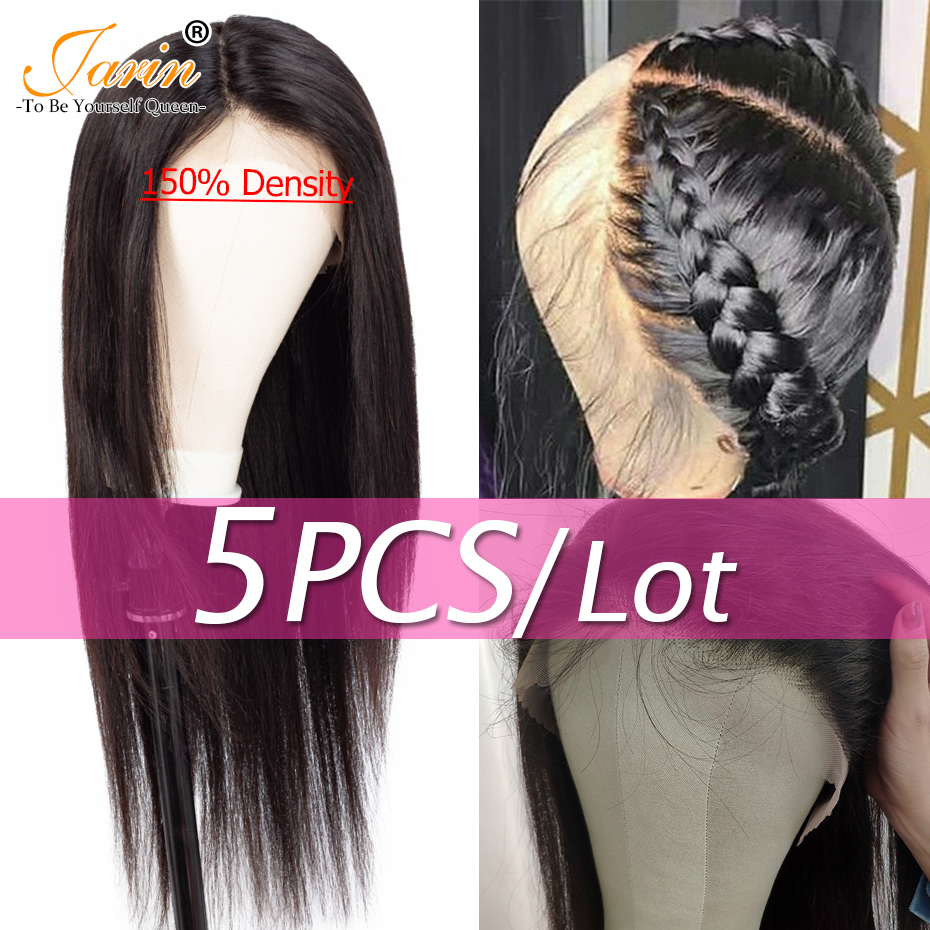 5 Pieces lot Lace Front 13x4 Human Hair Wigs 150 density Pre Plucked Brazilian Straight Lace