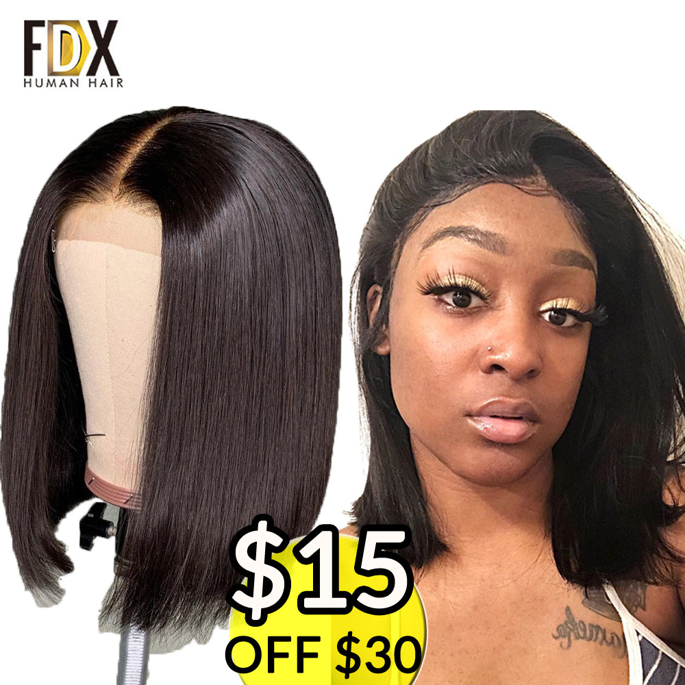 Straight lace front human hair wigs 13x4 For Black Women Nartural Color 613 Blonde Middle Part