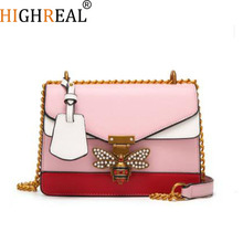 2019 Women Color splicing Little bee Bags Fashion Zipper Designer Handbag Casual Shoulder Messenger Bag New Sac Femme