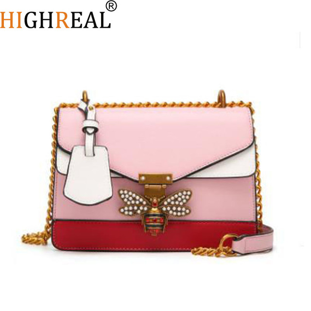 4d375f99ecb5 2019 Women Color splicing Little bee Bags Fashion Zipper Designer Handbag  Casual Shoulder Messenger Bag New Sac Femme