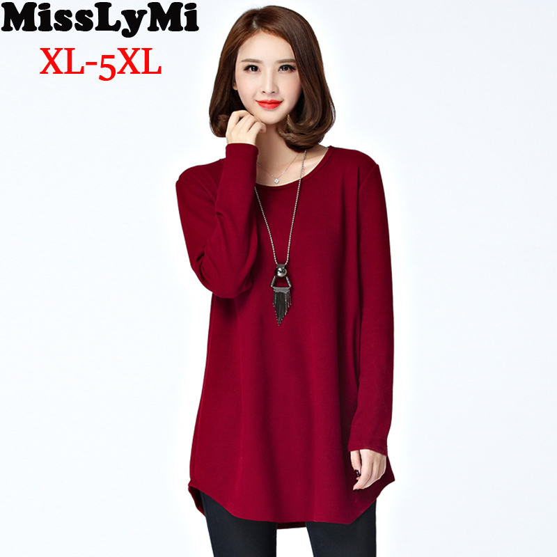 M-5XL Women T-shirt 2016 Autumn Winter Thickening Fleece Fashion O-neck Long Sleeve 3 Colors Loose T shirt