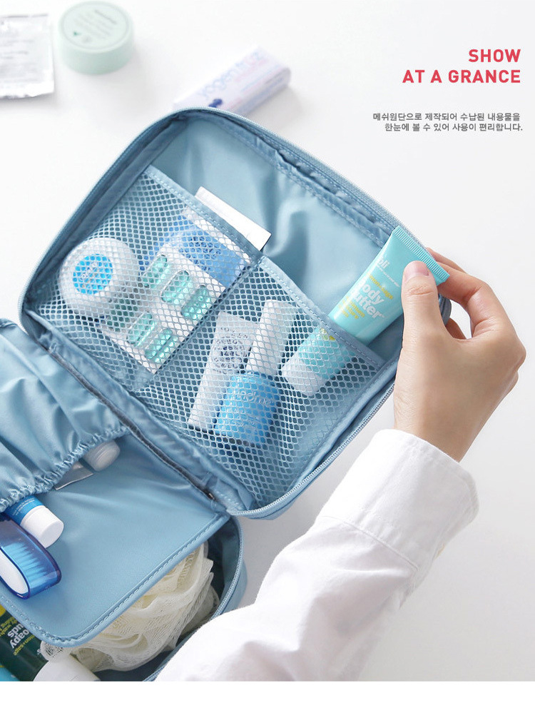 Image 3 - Multifunctional waterproof Oxford cloth travel storage bag Portable double layer ladies cosmetic bag custom Korean wash bag-in Storage Bags from Home & Garden