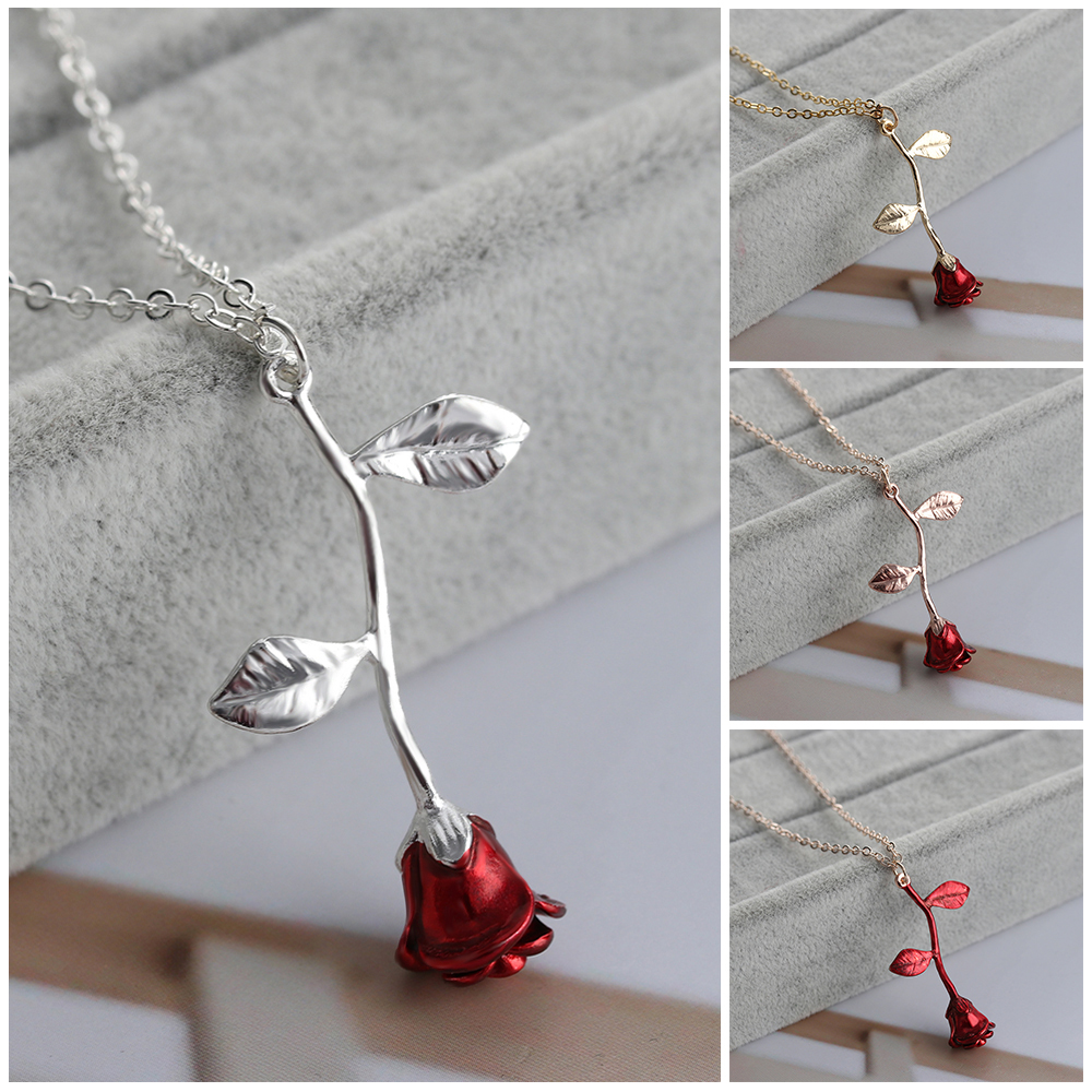 Women Charm Jewelry Rose Flower Pendant Long Chain Silver Gold Plated Necklace