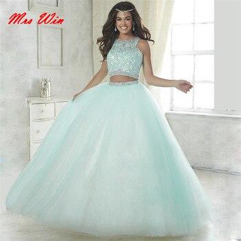 88ea68ec9 Elegante azul de bebé de dos piezas vestidos de quinceañera 2019 bola  vestido con cuentas vestidos