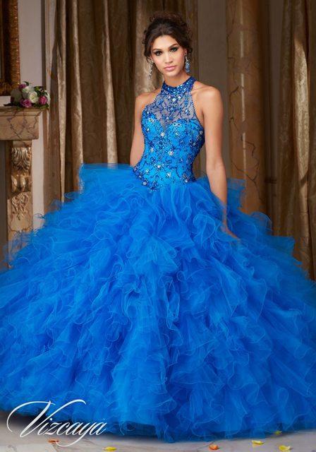 e67392eccca Hot Sale Royal Blue Halter Quinceanera Dress 2017 Sweetheart Ball Gown  Beaded Organza Sweet 16 Dress Cheap Quinceanera Gowns Q57