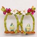 Jóias de moda europeus les nereides pássaro e flor brincos partido jóias - frete grátis