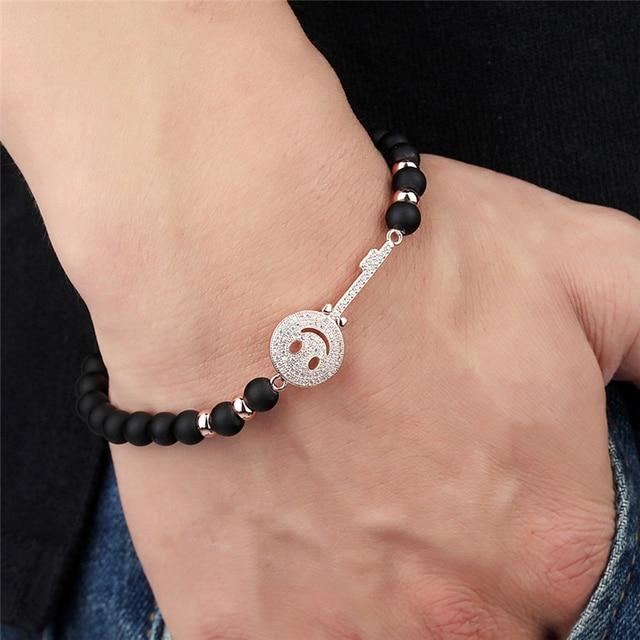Janeyacy брендовый модный браслет из бисера черный смайлик мужской