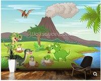 Custom baby wallpaper,Baby Dinosaurs & Volcano,cute cartoon mural for bedroom living room background wall, decorative wallpaper