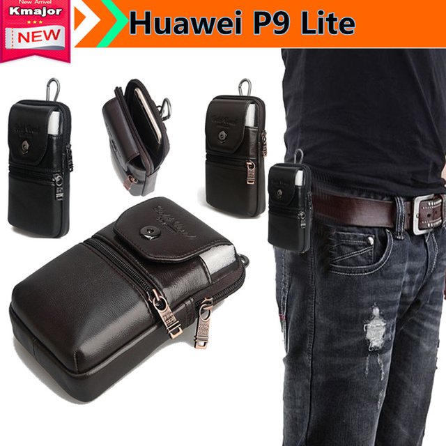 Genuine Leather Carry Belt Clip Pouch Waist Purse Case Cover for Huawei P9 Lite VNS-L31 5.2inch Phone Free Drop Shipping