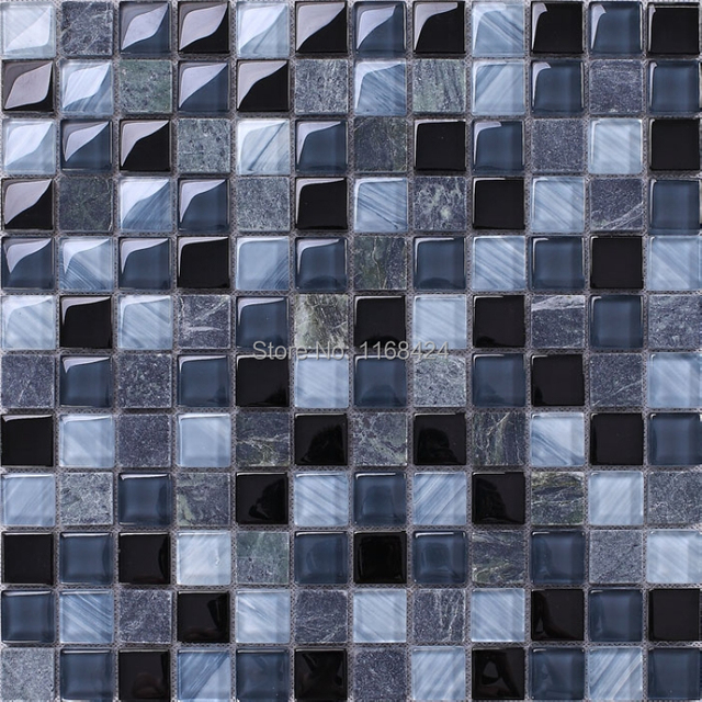 Grau mixed blue glass & stein mosaik fliesen 1x1 \