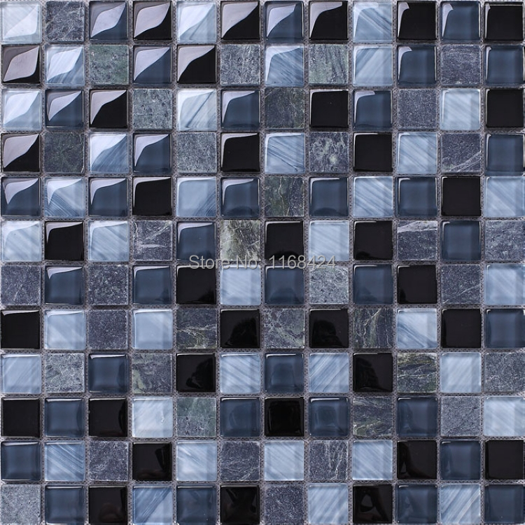 Gray Mixed Blue Glass Amp Stone Mosaic Tiles 1x1 Quot Squared