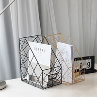Creative ins Nordic wrought iron grid file storage rack Office desk rose gold double layer shelf rack Decorative items