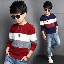 Корейский Осень-Весна baby boy свитер полосы Британский Стиль моды тепло дети база трикотаж повседневная комфорт подросток одежда