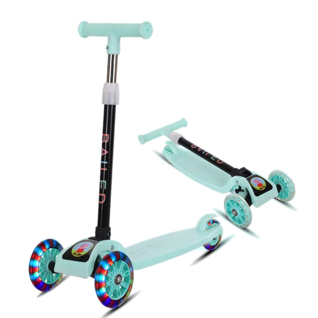 Outdoor-Toys Bike-Slider Flash Scooter Children Folding Three-Wheeled Light Of 3-Rounds