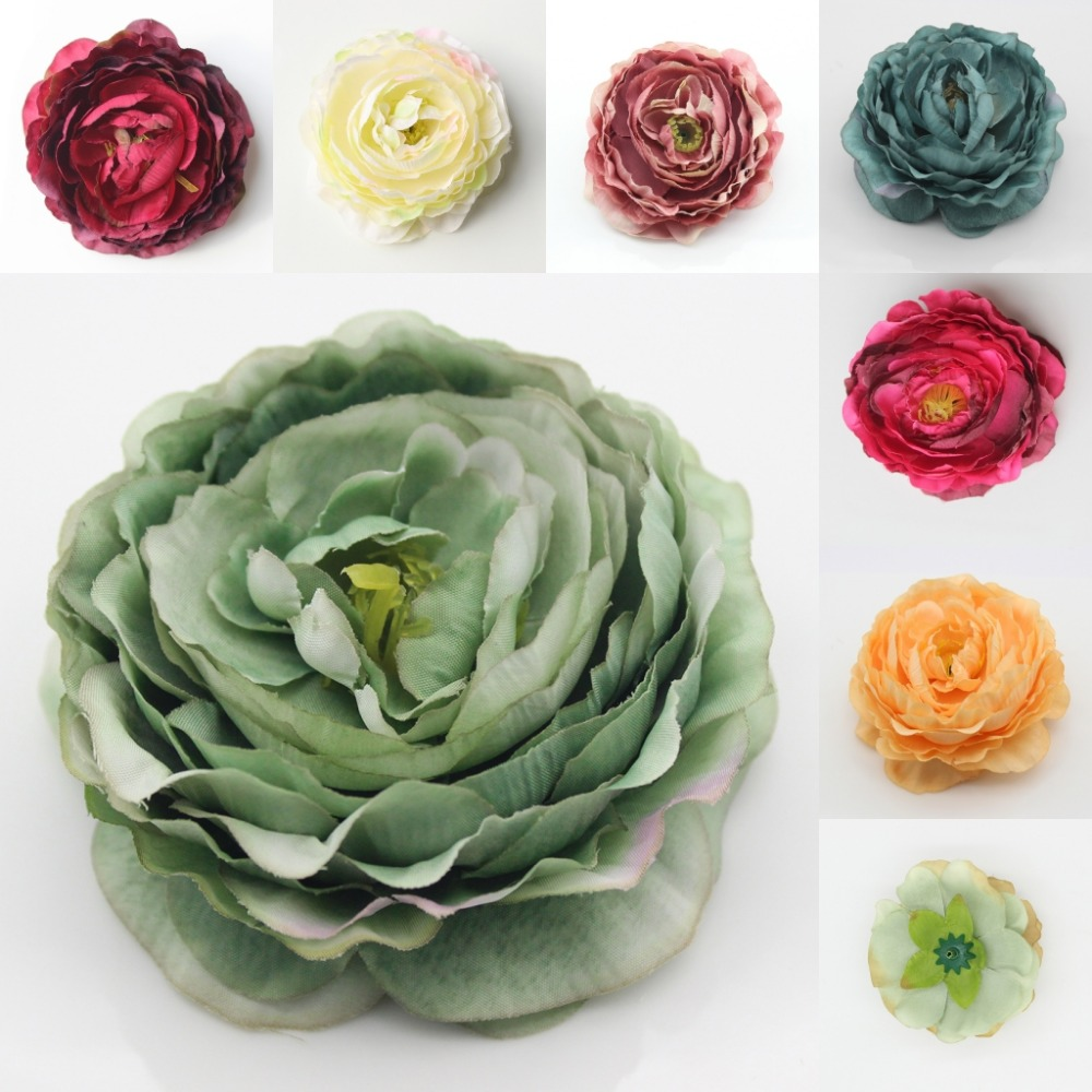 12pcs 90mm Wholesale Artificial Silk Multicolor Peony Flower