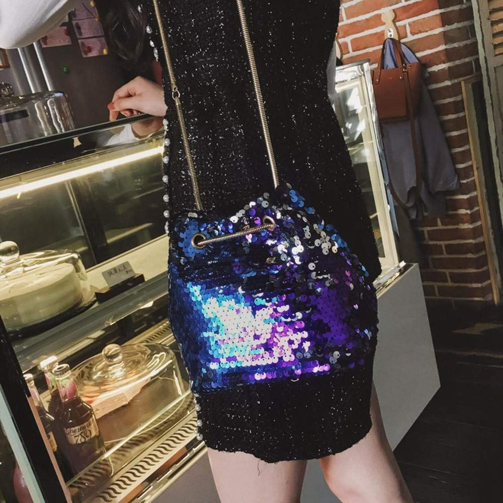 Women Sequins Bag Fashion Handbag Purse Glitter Shoulder Bag Evening Party Clutch for Girl(Blue) 6