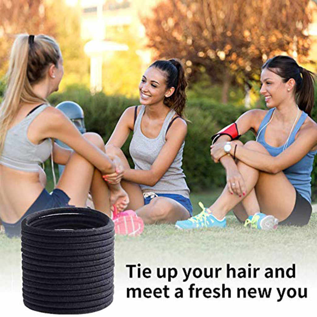 Black Elastic Hair Bands 30 pcs Hair Ties for Thick and Curly No Metal Hair Elastic Black Hair Rope Rings 2019 Hot @35