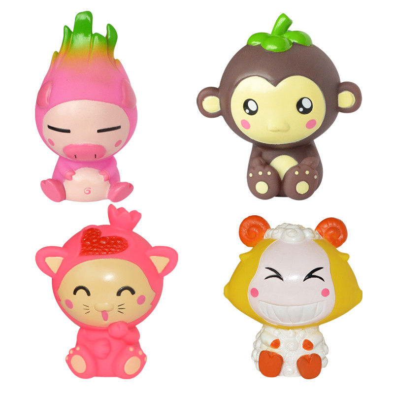 4 Pcs/set Rubber Cartoon Baby Bath Toys For Children Happy Bathing Fruit Cute Animal Style Bathroom Water Fun Toys