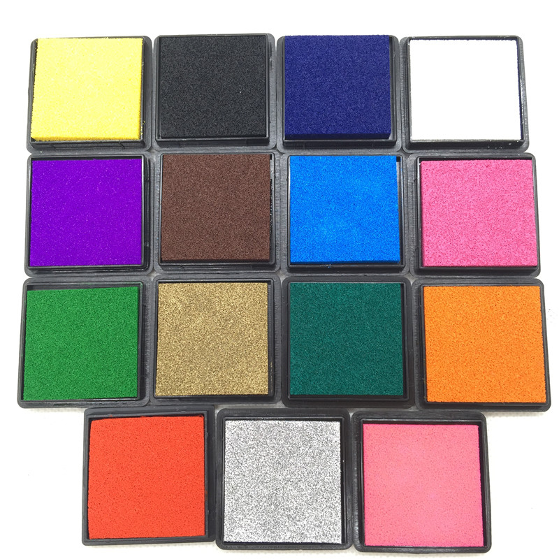 15colors Cute Inkpad Craft Oil Based Diy Ink Pads For Rubber Stamps Fabric Scrapbook Wedding Decor Fingerprint Stamp Pad cc inkpad diy y005