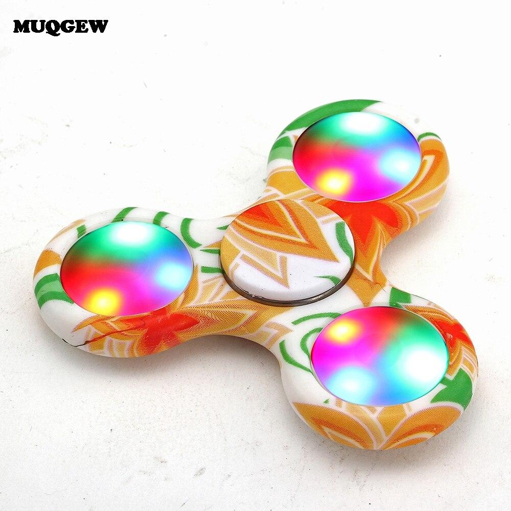 MUQGEW LED Light Fidget Spinner Finger Toy Adult Kid Gift