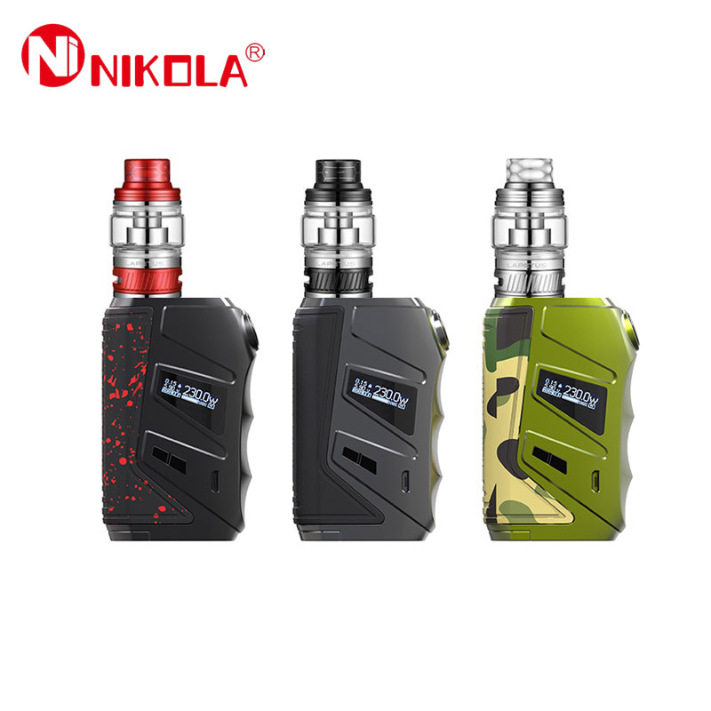 Original Nikola Wolverine Vape Kit 230W Box Mod With Nikola Lapetus Sub Ohm Tank Powered By Dual 18650 Battery Vape Vaporizer