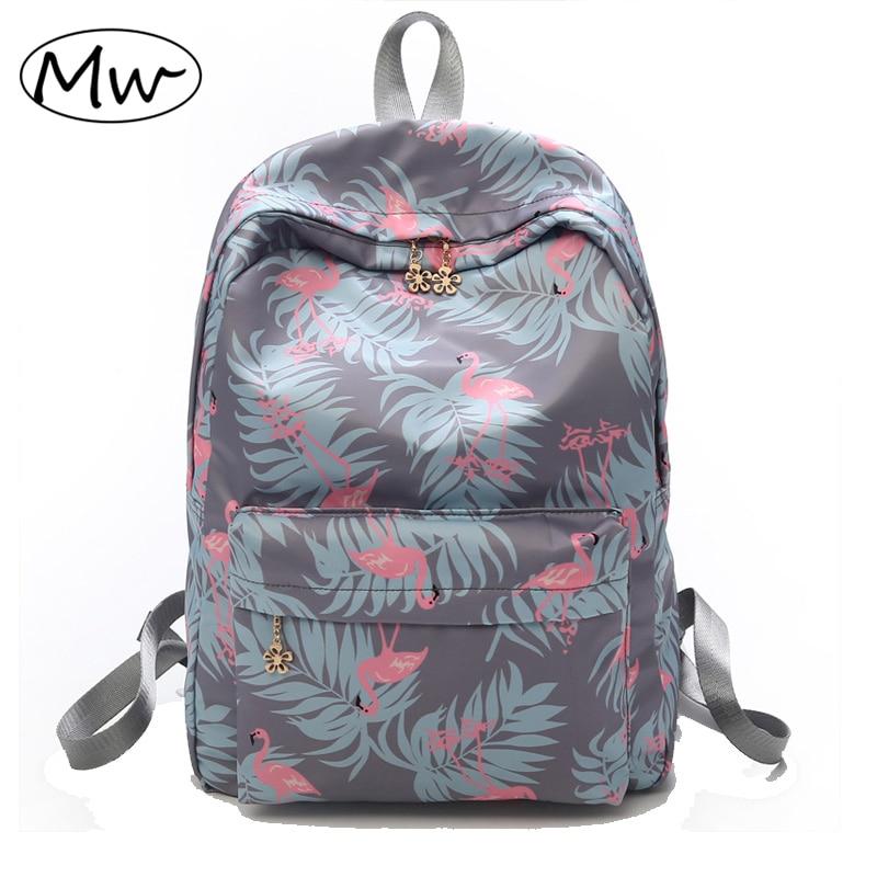 Moon Wood Fashion Animal Flamingo Printing Backpack Flowers Zipper High College School Students Backpack For Girls Laptop Bag moon flac wood