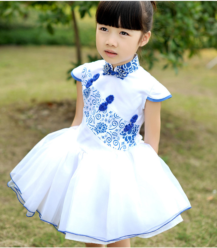 New 2015 Print Girl Dress Brand Chinese Style Blue And White Baby