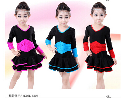 Free shipping rumba latin dance blue red rosy 3 colors dress tango samba 120-160cm  professional girl child fashion costume